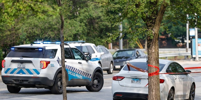 CHICAGO, IL - JULY 07: A car involved in a shooting sits outside Chicago Police Departments Morgan Park District station on July 7, 2021 in Chicago, Illinois. Two ATF agents and one Chicago Police officer were shot as they worked undercover. (Photo by Kamil Krzaczynski/Getty Images)