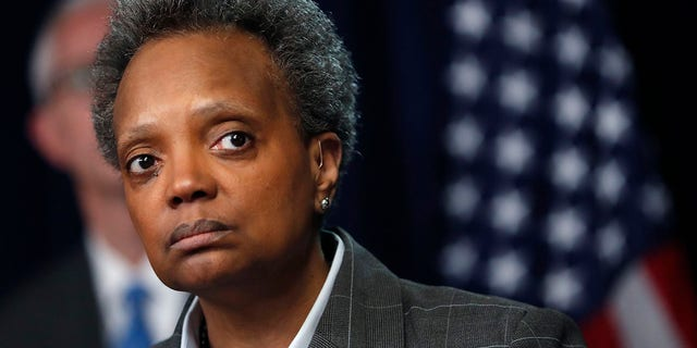 Chicago Mayor Lori Lightfoot continued to defend her controversial decision to only speak with non-White reporters. (AP Photo/Charles Rex Arbogast, File)