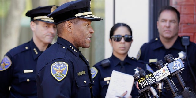San Francisco Police Chief Bill Scott speaks to reporters in San Francisco. San Francisco saw an increase in shootings in the first half of 2021 compared to the same period in 2020, and a slight uptick in aggravated assaults like those seen in viral videos. (AP Photo/Jeff Chiu, File)