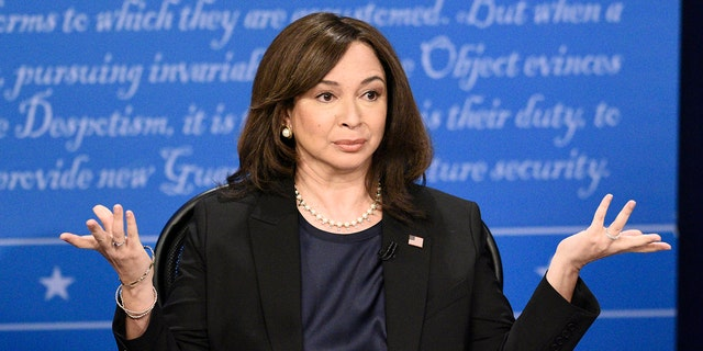 Maya Rudolph as Kamala Harris in 'Saturdaynight Live.' For the second year in a row, she earned a nod for the sketch comedy show and for her voice work in 'Big Mouth.' (Photo by: Will Heath/NBC/NBCU Photo Bank via Getty Images)