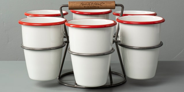 This seven-piece red and cream set is equal parts festive and functional.