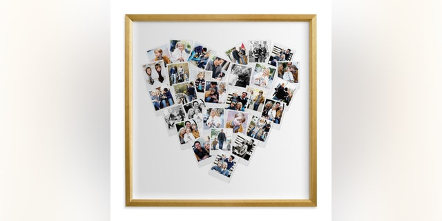 These custom photo art pieces can be customized with text, multiple frame choices, various color themes, and more.