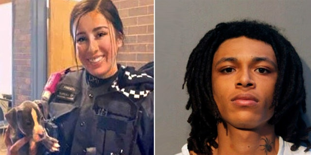 Officer Ella French, left, and Emonte Morgan.