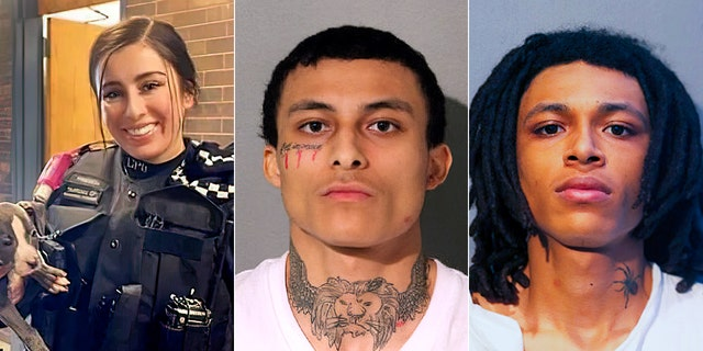 """Monty """"Emonte"""" Morgan, middle, 21, is charged with first-degree murder in the fatal shooting of 29-year-old Chicago police officer Ella French, left, as well as attempted murder and other charges. His brother, right, was also charged."""