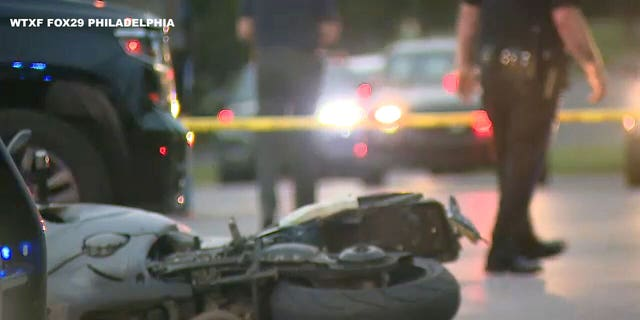 Photo shows the crime scene where a Philadelphia police officer was shot in August 2021 (WTXF FOX29)