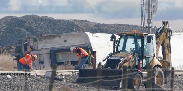 The site of the derailment is about 150 miles (241 kilometers) northeast of Helena, Montana, and about 30 miles (48 kilometers) from the Canadian border.
