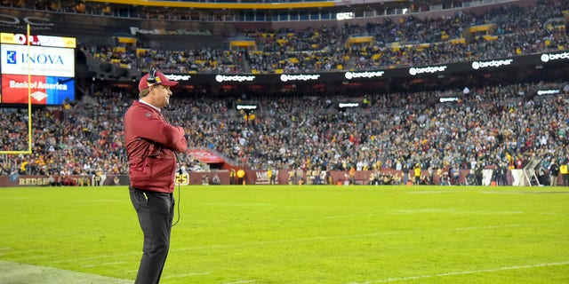 Head coach Jay Gruden of the Washington Football Team looks on during the first half against the Philadelphia Eagles at FedExField on December 30, 2018 in Landover, Maryland.